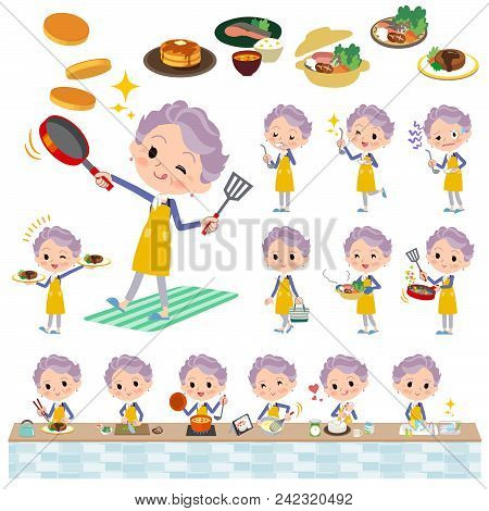 Set Of Various Poses Of Blue One Piece Old Women_cooking