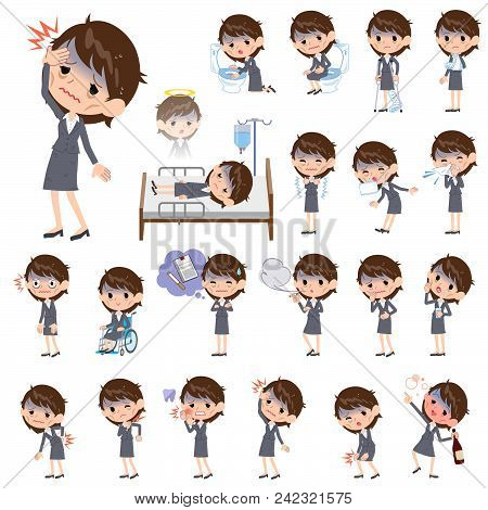 Set Of Various Poses Of Gray Suit Business Women Bad Condition_sickness