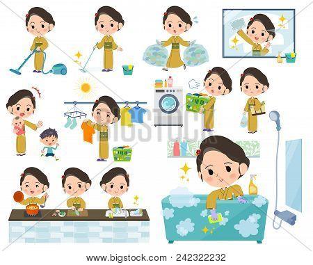 Set Of Various Poses Of Kimono Yellow Ocher Women_housekeeping