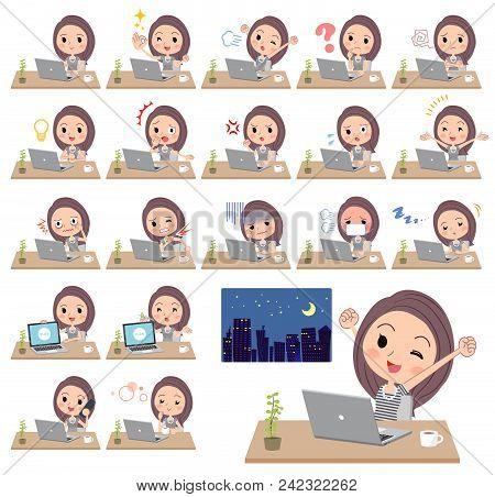 Set Of Various Poses Of Long Hair Women_desk Work