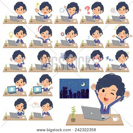Navy Blue Suit Perm Hair Men_desk Work