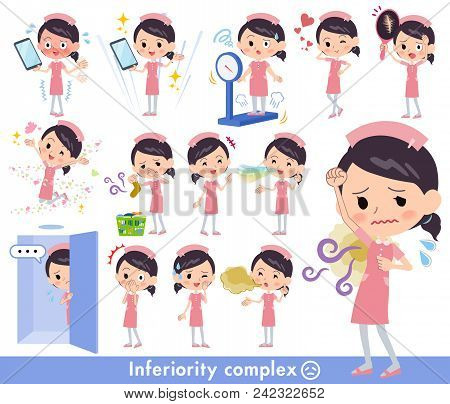 Set Of Various Poses Of Nurse Wear Women_complex