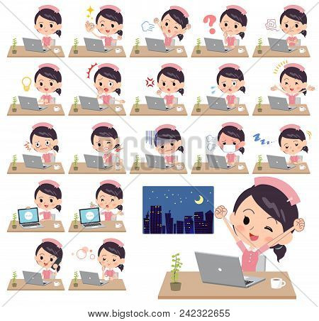 Set Of Various Poses Of Nurse Wear Women_desk Work