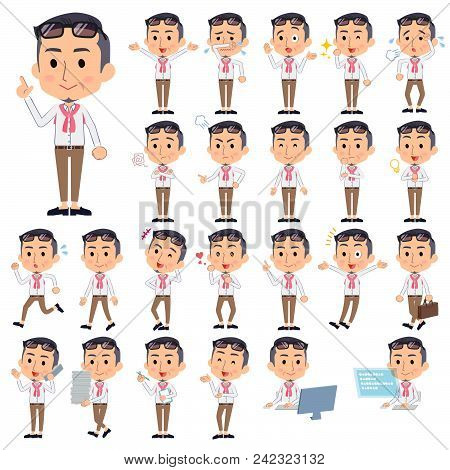 Set Of Various Poses Of Producer Middle Men_1