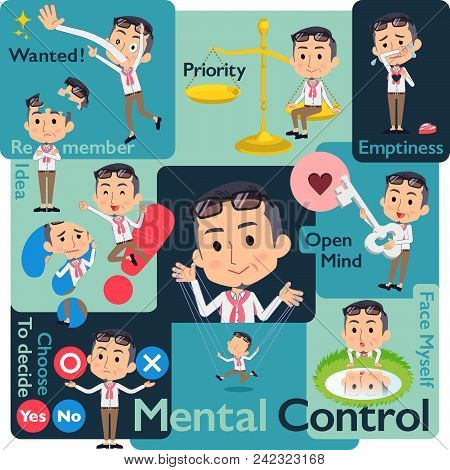 Set Of Various Poses Of Producer Middle Men_mental & Volition