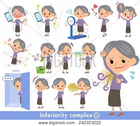 Set Of Various Poses Of Purple Clothes Grandmother_complex