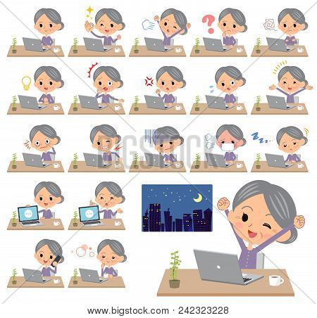 Set Of Various Poses Of Purple Clothes Grandmother_desk Work