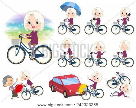 Set Of Various Poses Of Purple Shirt Old Women White_city Bicycle