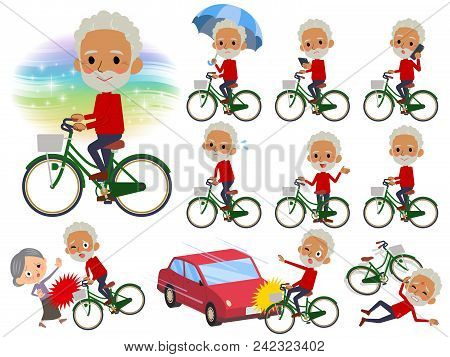 Set Of Various Poses Of Red High Neck Old Man Black_city Bicycle