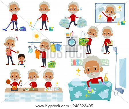 Set Of Various Poses Of Red High Neck Old Man Black_housekeeping