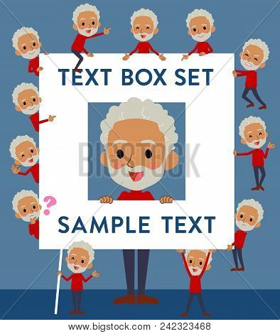 Set Of Various Poses Of Red High Neck Old Man Black_text Box