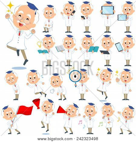 Set Of Various Poses Of Research Doctor Old Men_2