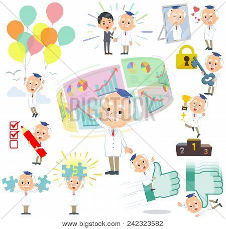 Set Of Various Poses Of Research Doctor Old Men_success & Positive
