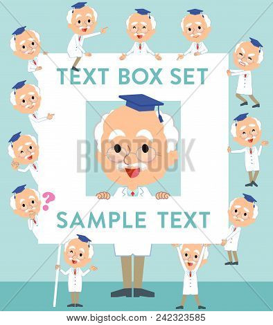 Set Of Various Poses Of Research Doctor Old Men_text Box