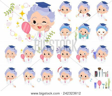 Set Of Various Poses Of Research Doctor Old Women_beauty