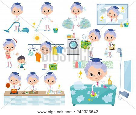 Set Of Various Poses Of Research Doctor Old Women_housekeeping