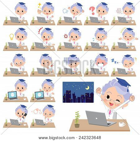 Set Of Various Poses Of Research Doctor Old Women_desk Work