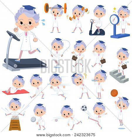 Set Of Various Poses Of Research Doctor Old Women_sports & Exercise