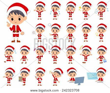 Set Of Various Poses Of Santa Claus Costume Boy_1