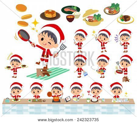 Set Of Various Poses Of Santa Claus Costume Boy_cooking