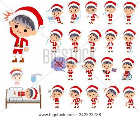Set Of Various Poses Of Santa Claus Costume Boy_sickness