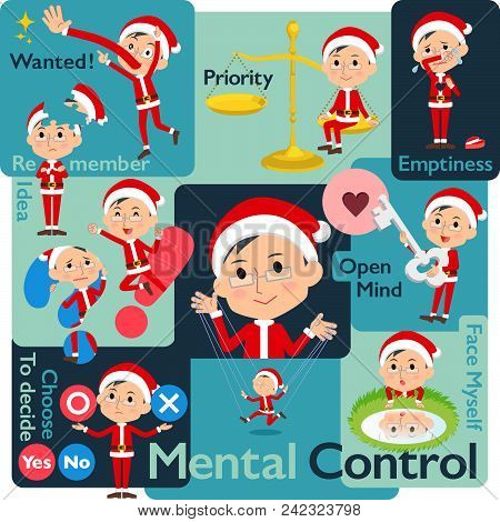 Set Of Various Poses Of Santa Claus Costume Dad_mental & Volition