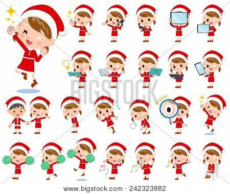 Set Of Various Poses Of Santa Claus Costume Girl_2