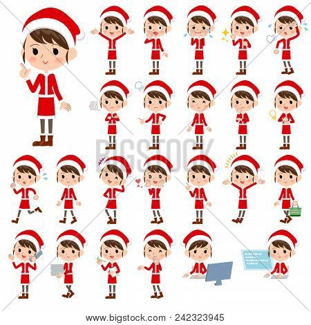 Set Of Various Poses Of Santa Claus Costume Mom_1