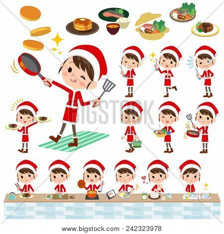 Set Of Various Poses Of Santa Claus Costume Mom_cooking