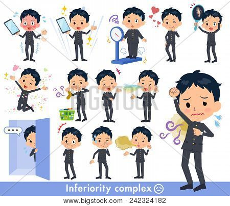 Set Of Various Poses Of School Boy Gakuran_complex