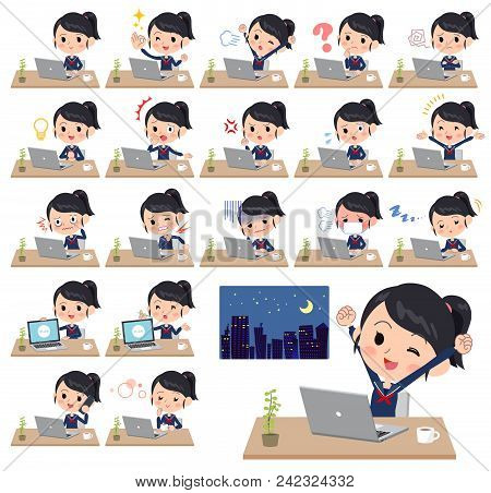 Set Of Various Poses Of School Girl Sailor Suit_desk Work