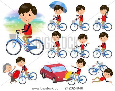 Set Of Various Poses Of Store Staff Red Uniform Men_city Bicycle