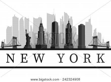 New York Usa Skyline And Landmarks Detailed Silhouette, Black And White Design, Vector Illustration.