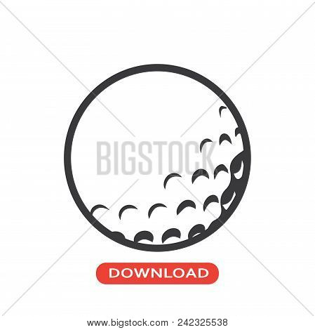 Golf Ball Vector Icon Flat Style Illustration For Web, Mobile, Logo, Application And Graphic Design.