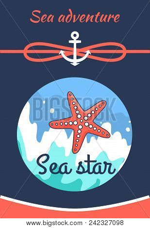 Sea Adventure Poster With Title And Image Of Sea Star, Adventure And Starfish, Water And Cordage Wit