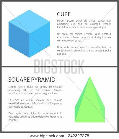 Cube And Square Pyramid Figures Isolated On White, Vector Illustration, Blue And Green Figure Sample