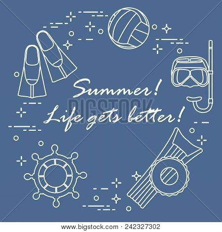 Steering Wheel, Mask, Snorkel, Fins, Volleyball, Inflatable Mattress, Inflatable Circle. Summer Spor