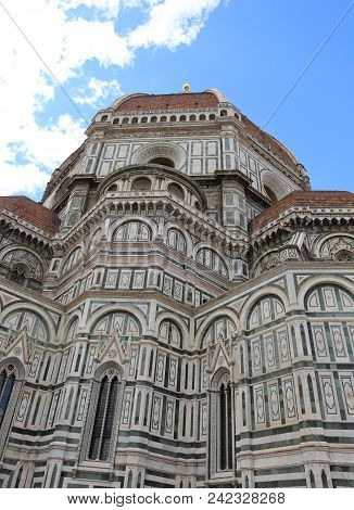 Great Dome Designed By Brunelleschi Of The Florence Duomo In Italy With Big Golden Sphere On Top
