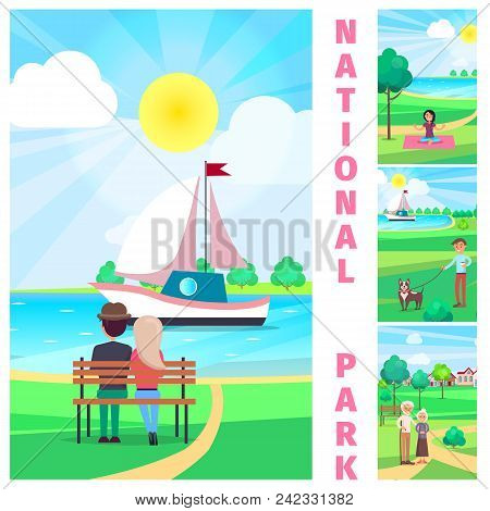National Park With Couple Sitting On Bench And Admiring Sailing Yacht Under Summer Hot Sun Vector Po