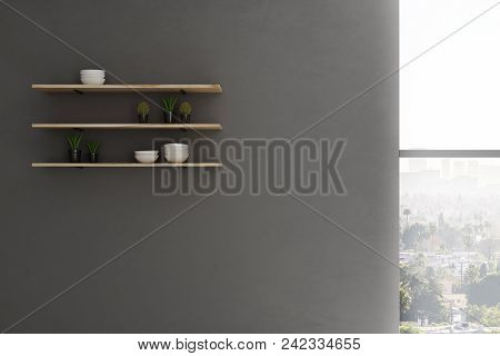 Shelves With Kitchen Items On Concrete Wall With Window And City View. Style Concept. 3d Rendering