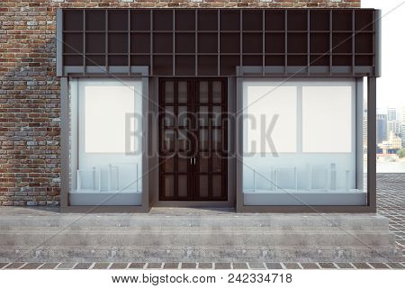 Modern Glass Storefront With Empty Banner. Retail And Commerce Concept. Mock Up, 3d Rendering