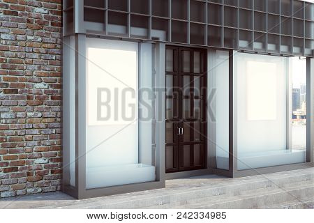 Modern Glass Storefront With Blank Billboard. Retail And Commerce Concept. Mock Up, 3d Rendering