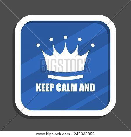 Mba blue flat design square web icon poster