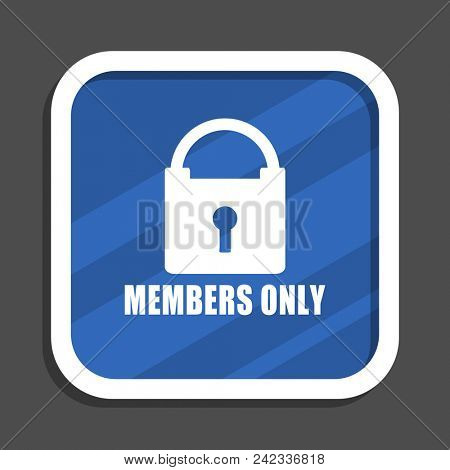 Members only blue flat design square web icon