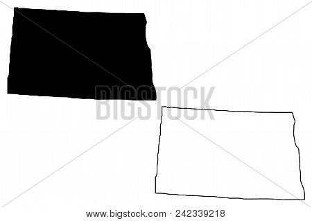 North Dakota Map Vector Illustration, Scribble Sketch  North Dakota Map