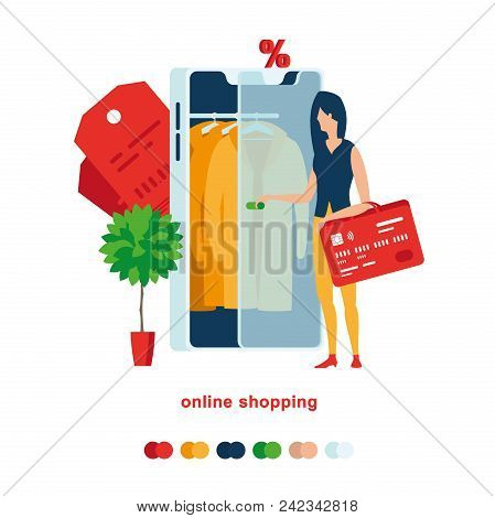 Smartphone Shopping. A Woman Opens Smartphone To Buy A Yellow Cloak. Illustration Of Online Shopping