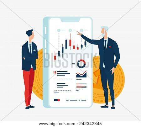 Vector Illustration Of Two Businessmen Financiers In Front Of The Screen Gadget With Graphs Of Finan