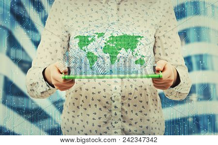 Young Woman Holding Tablet Showing Social Network Structure Hologram. Business Technology Expansion