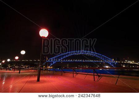 Sydney, Australia - May 25 2018: Sydney Harbour Bridge On The Opening Night Of Vivid Sydney 2018 Fro