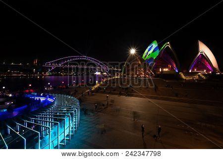 Sydney, Australia - May 25 2018: Sydney Harbour Bridge And Sydney Opera House On The Opening Night O